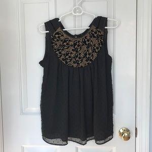 Anthropologie black sleeveless blouse